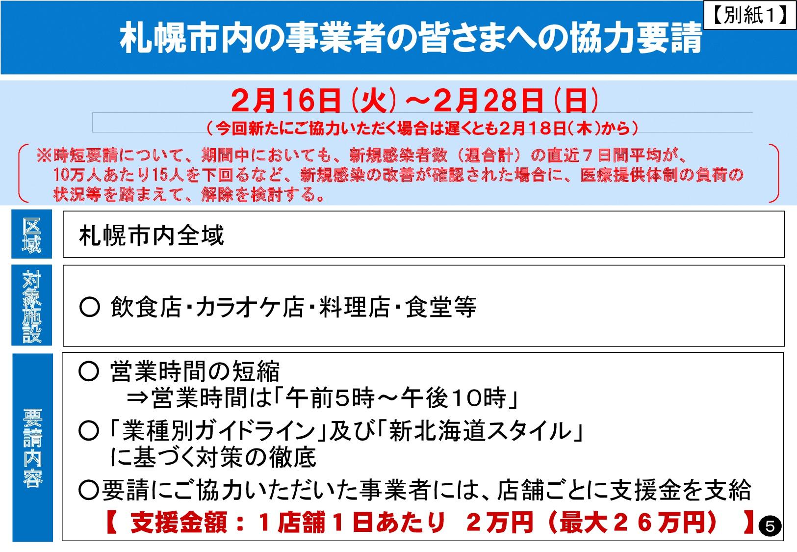 札幌 時短 営業